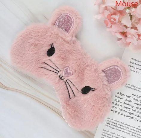 Удобная мягкая маска для сна—повязка на глаза милая мышка (розовый)