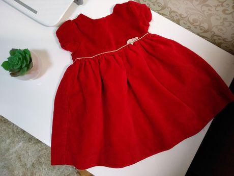 Нарядное платье девочка 3-6 мес. праздник бархат красное лето/весна