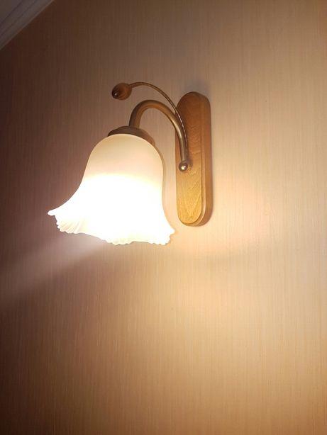 2x Lampa kinkiet drewno dąb biały