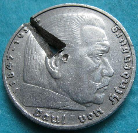 5 марок 1938 J оригинал, серебро.