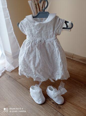 Sukienka na chrzest buciki opaska i bolerko