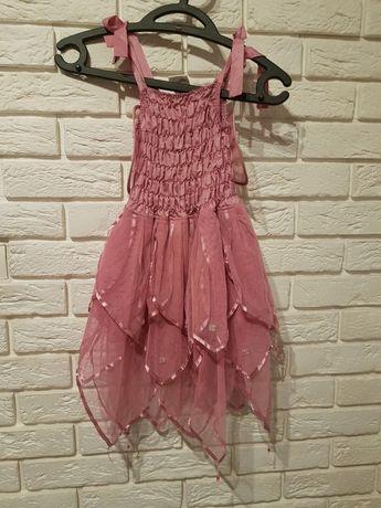 Śliczna sukienka, przebranikostium Motyl, pudrowy róż. Dziewczynka 116