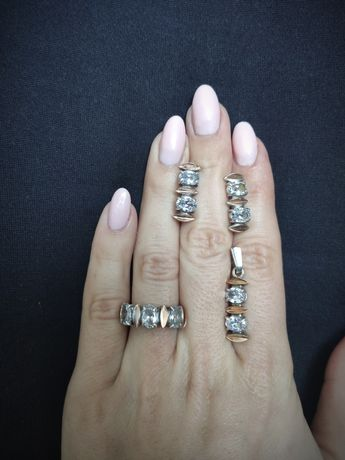 Комплект серебряный с золотом (перстень, подвес, серьги)