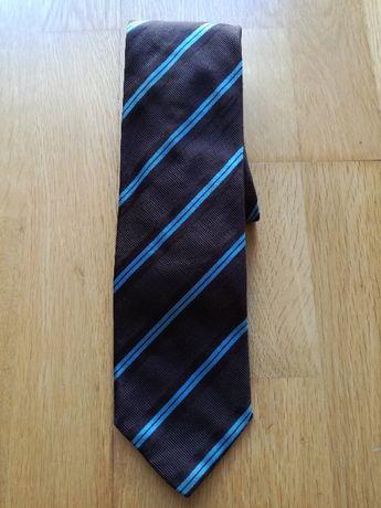 Gravata castanha com riscas azuis - Throttleman