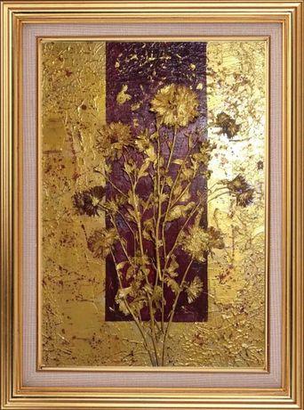 Картина маслом «Золотые хризантемы»