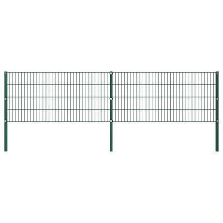 vidaXL Painel de vedação com postes ferro 3,4x0,8 m verde 278605