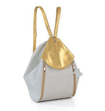 Plecak skórzany ecru-złoty