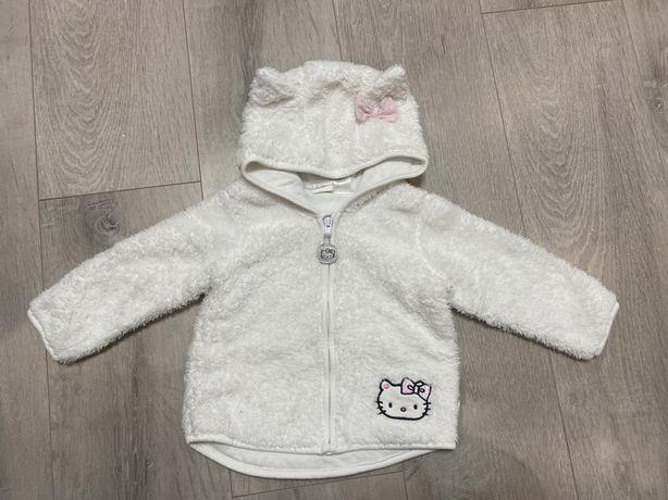 Кофта на молнии H&M плюшевая кофточка Hello Kitty 9мес.-1,5 г реглан