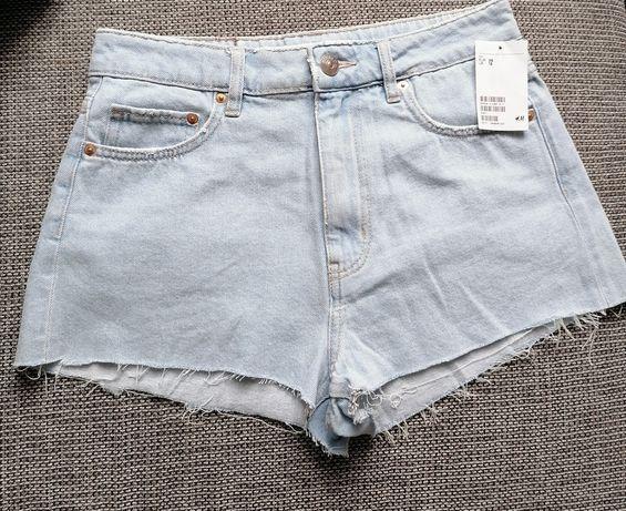 Szorty dżinsowe nowe H&M, spodenki krótkie, spodnie 38