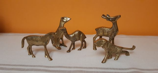 Figurki zwierzat z mosiądzu