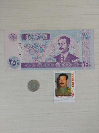 Лот Банкнота 250 динаров 2002год Ирак Садам Хусейн дамба + монета 25 ф