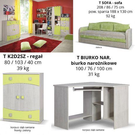 Meble młodzieżowe TED DĄB SANTANA/ZIELONY | 2 x komoda, biurko, sofa