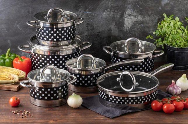 Набор посуды из нержавеющей стали 12 предметов Edenberg Черный (EB-405
