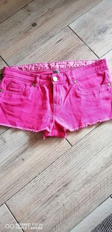Spodenki denim różowe Pink szarpane S, M