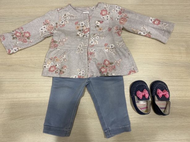 Наборчик на девочку кофта Carters 12 m, джинсы 3-6 м
