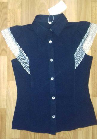 Блузка школьная с коротким рукавом на девочку 10-12 лет