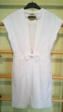 Белое платье Mango с интересной спинкой разм s