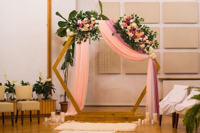 Heksagon ślubny / weselny - dekoracja (sześciokąt, łuk)
