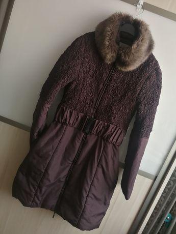 Zimowa kurtka z paskiem quiosque s 36 burgund bordo płaszcz futerko