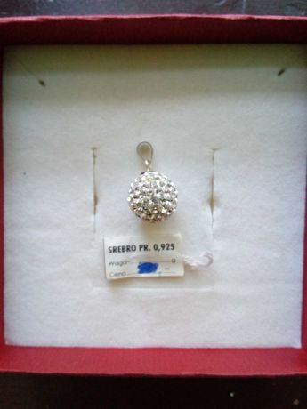 Zawieszka srebrna kulka z cyrkoniami