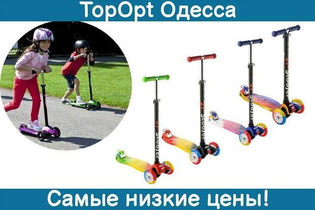 Детский Самокат хамелеон разноцветный 0073D,0072Е светящиеся колеса