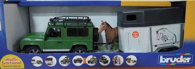 Bruder Land Rover do przewozu koń+przyczepa