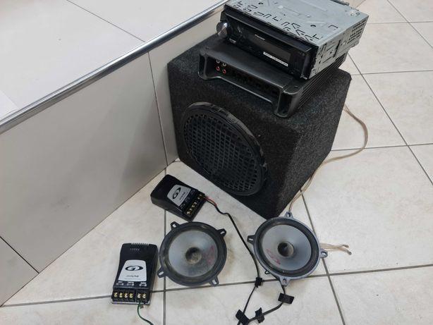 Głośniki Alpine 130mm, Subwoofer Hertz, Wzmacniacz, Radio Pionier