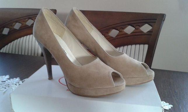 Buty, Szpilki z odkrytymi palcami r.38 beżowe