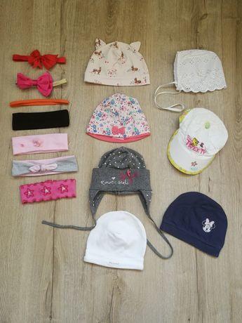 Zestaw/komplet czapki i opaski wiosenne dla dziewczynki