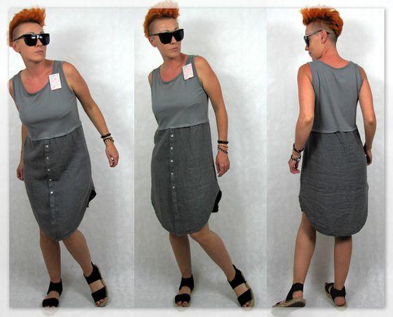 Włoska oryginalna sukienka najnowsza kolekcja M/L Len bawełna Promocja