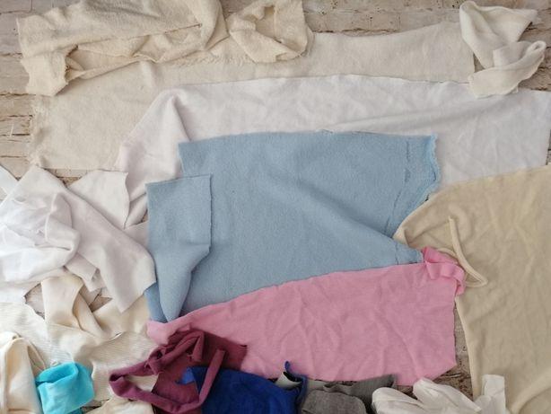 Bawełna organiczna - skrawki ścinki tkanin różne faktury