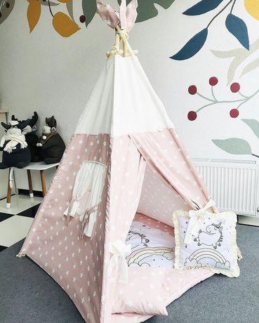Вигвам розовый для девочки единорог , палатка детская вігвам дитячий
