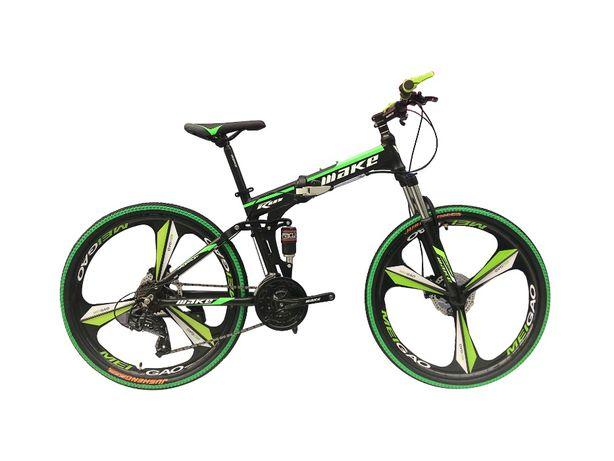 Алюминиевый складной велосипед на литых дисках двухподвес черно-зелен