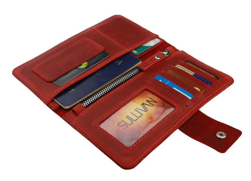 Кожаный женский кошелек портмоне тревел-кейс travel Sullivan Козелец - изображение 1
