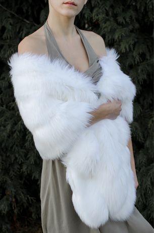 Etola ślubna białe futro szal ślubny okrycie ślubne futerko damskie