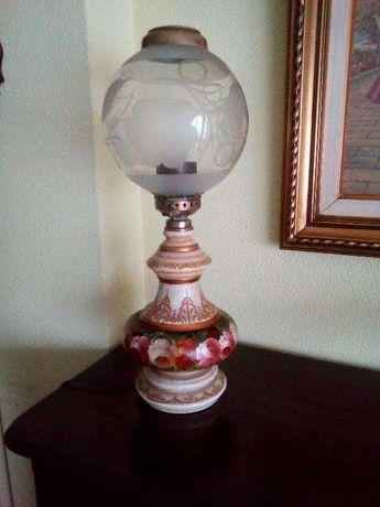 candeeiro antigo trabalhado e vidro