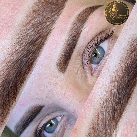 Перманентный макияж-татуаж держится до двух лет бровей, век, губ