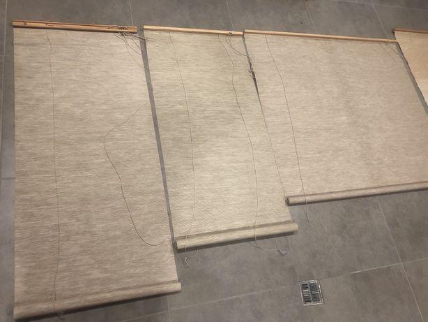 Rolety zwijane na okno, tkane z drewnianym wykonczeniem
