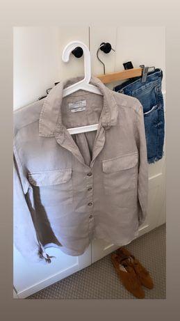 Sorzedam lniana koszule zara z kieszeniami m 100% len