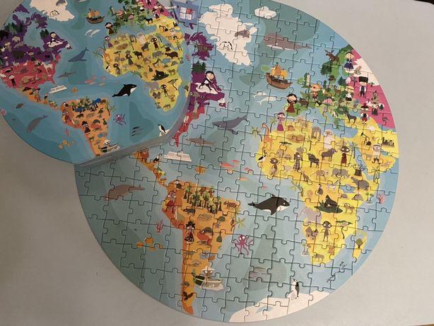 крутой пазл карта мира для детей Janod Франция