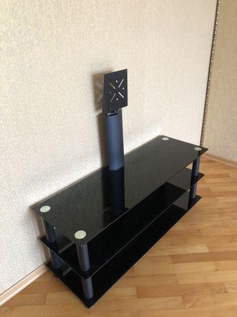 Тумба под телевизор стеклянная черная с кронштейном