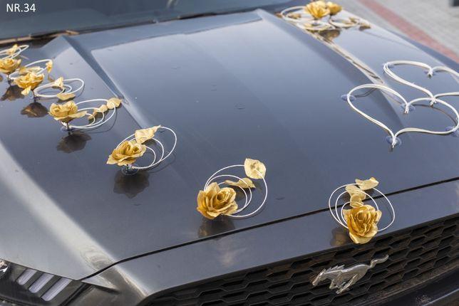 Ozdoba na auto do ślubu- dekoracja-stroik-przybranie kolor ZŁOTY