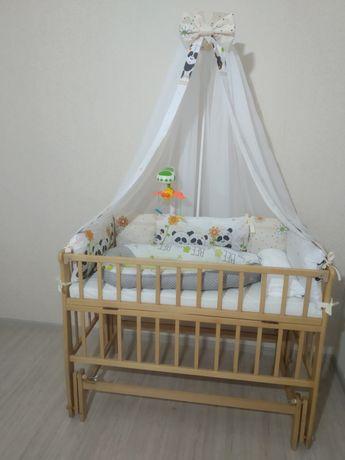 Кроватка +НОВАЯ постелька,детская кровать маятник с всем что на фото