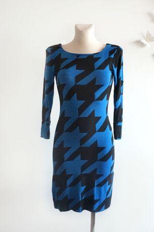 Unikat Sukienka w pepitkę XS S