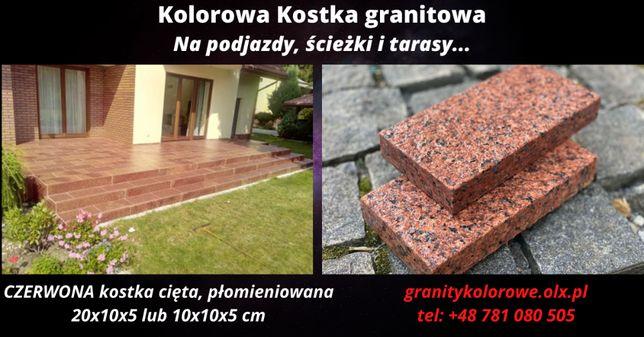 Kostka brukowa Granitowa CZERWONA cięta 20x10x5, 10x10x5cm WYPRZEDAŻ!!
