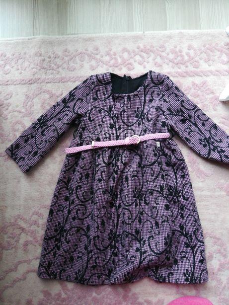 Турецкое Платье теплое фиолетовое на девочку рост 104