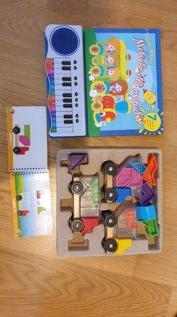 Klocki + organy, książka , edukacyjne zabawki , okazja