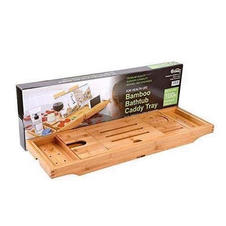 Bambusowa półka na wanne 2w1