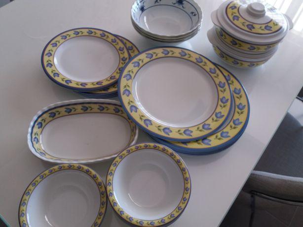 Pratos e conjunto de louça em plástico compatível com máquina de lavar