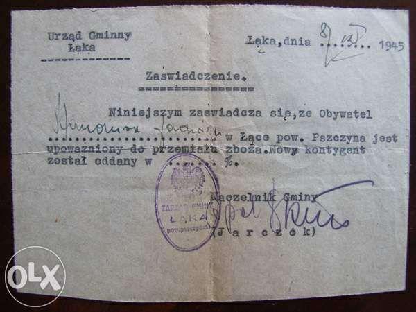 Stary dokument z Urzędu Gminy Łąka z 1945 r.